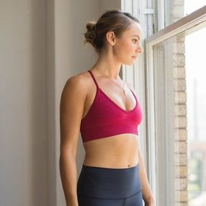 Lululemon Ebb to Street Bra in Berry